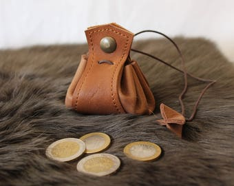 Brown leather purse. little medieval purse; for the purse; Brown wallet
