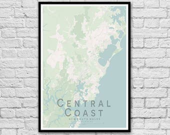 Central Coast NSW City Street Map Print | Wall Art Poster | A3 A2 | Travel Print | Seaside Decor | Nautical Print | Bedroom Poster