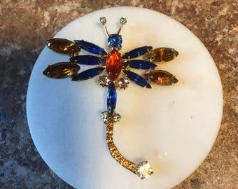 Stunning Vintage Rhinestone Dragonfly Brooch Pin