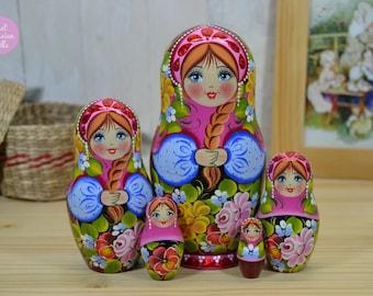 Wooden nesting dolls, Gift for mom, Russian matryoshka, Gift for woman, Hand painted babushka, Russian folk art, Hand made stacking dolls