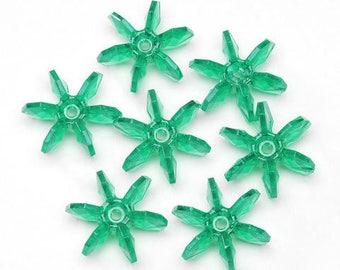 100- 18MM Christmas Green Plastic Starflake Beads by Darice