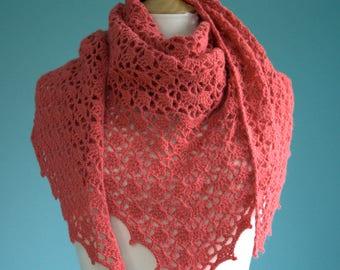 Peach alpaca crochet scarft shawl wrap
