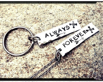 Forever & Always Couples Necklace/Keychain Set - Long Distance Relationship//Hand Stamped Pewter Tag Charm//Couples Gift/Valentines Day