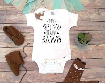 My Siblings Have Paws Onesie®, Pregnany Reveal Onesies, Pregnancy Announcement Onesie, Pregnancy Reveal Shirt, Dog Onesie, Fur Baby Bodysuit