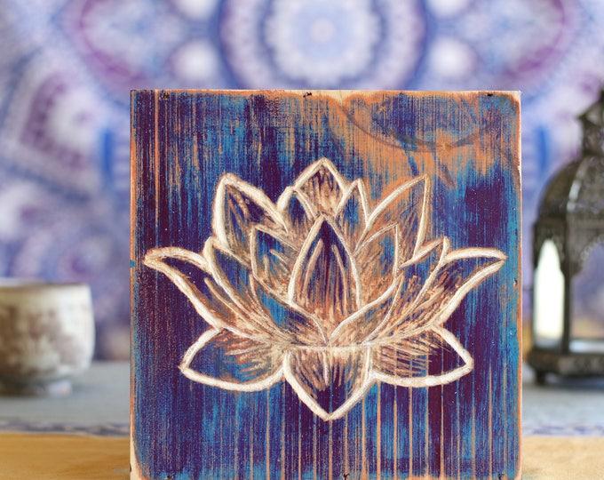 Handcarved Lotus Flower Wood Wall Hanging