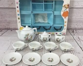 Children's Toy China Tea Set, 13 Piece, Flower Pattern, Floral, Play Time w/ Box, Made in Japan, Pretend Play Toy