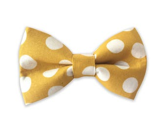 Yellow Polka Dot Bowtie, Dog Collar Bow Tie, Dog Bow Tie, Collar bow tie, bow tie for collar, bow tie for collar, hidden strap