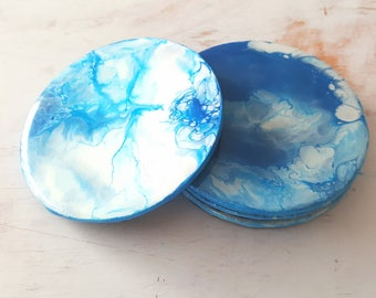 Abstract Art Coasters in Blue, White and Pearl