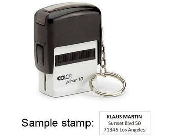 Colop Printer 10 with Key Ring and Personalised Self Inking Stamp 10x27mm