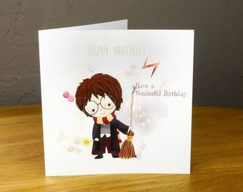Harry Potter style personalisd birthday card
