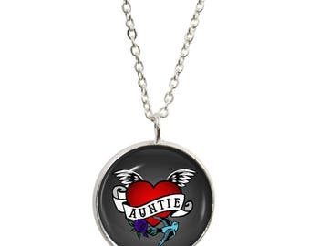 Auntie Tattoo Pendant and Silver Plated Necklace
