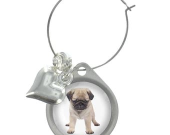 Pug Puppy Image On Wine Glass Charm with Fancy Beads