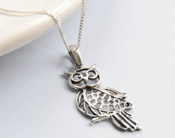 Silver Owl Necklace - Owl Pendant - Owl Gifts - Owl Necklace - Silver Necklace - Friend Gift - Mum Gift - Sister Gift - Daughter Gift