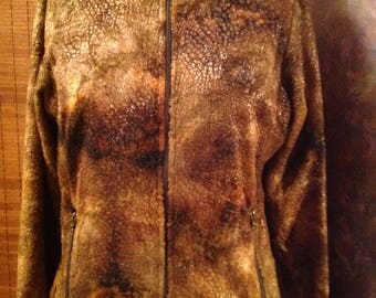 Textured cotton velvet cropped zipper front size medium  jacket biker rocker style boho cropped jackets