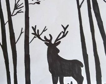 black and white deer design