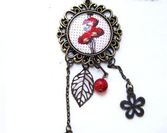 Necklace bronze and red poppies