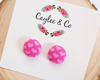 Pink Hearts Button Earrings RTS