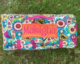 Flower Nap Mat with orange or black blanket, paisley nap mat, rolled nap mat, daycare nap mat, prek nap mat, toddler nap mat, girl nap mat