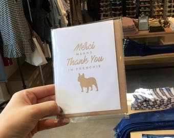Pet Thank You Card / Thank You Card / Frenchie Card / Dog Lover Card / French Bulldog / Foil Card / Gift For Dog Lover / Cute Thank You Card