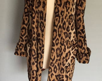 Vintage Faux Leopard Print Swing Jacket Coat