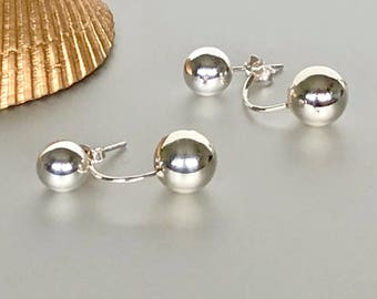 Sterling Silver Ear Jacket, Ball Studs And Ear Jacket, Minimalist Ear Studs, Silver Ear Studs, Funky Gifts For Her, (E174)