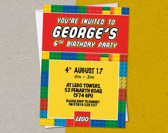12 LEGO Personalised Birthday Party A6 Invitations with/without white envelopes