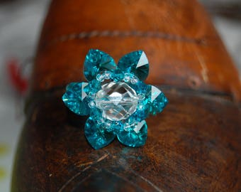 ring 6 swarovski hearts, turquoise