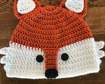 Fox beanie hat, baby, child, crocheted