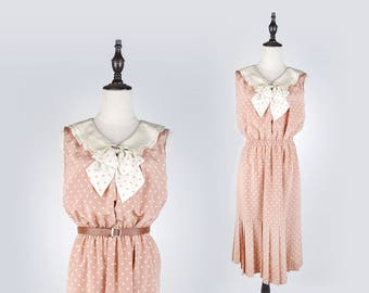 Polka Dot Bow Collar Sleeveless Pink Vintage Women Dress Size M