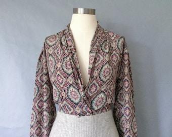 Vintage silky blouse/secretary blouse/ silky shirt/top women's size S/M