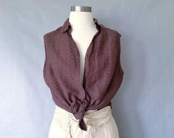 vintage brown eyelet sleeveless button down blouse women's size M/L
