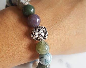 Fancy Jasper Bead Bracelet with Silver Lion Head Charm - Stocking Stuffer for Husband, Boyfriend Anniversary Gift, Boyfriend Birthday Gift