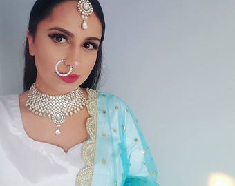 Classy Rhinestone and White Pearl Indian Bridal Jewelry Set - Indian Jewelry, Bridal Necklace and Earrings, Silver Indian Bridal Set, Saree