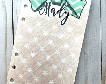 Lace and Bows // Double Sided Planner Dashboard Custom Ring Bound TN Travelers Notebook