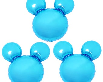 3X Birthday Party Blue Mickey Mouse Baby shower Decorations Giant Mylar Foil Balloons