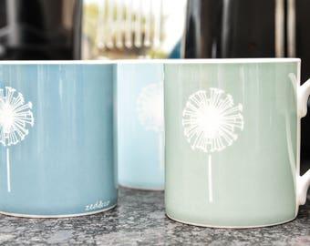 Dandelion Mug - Bone China, Two Sizes, Seven Colours, Wedding Gift, Birthday Gift, Tea Cup, Coffee Mug, Office Mug, Ceramic Mug, Made In UK