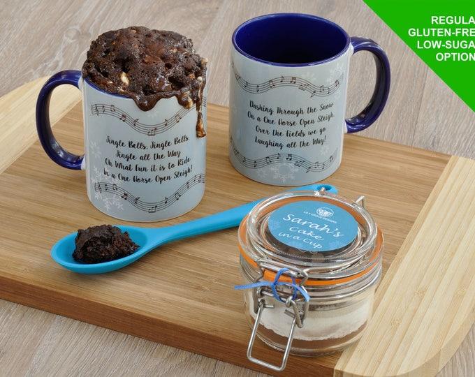 Jingle Bells, Christmas carol gift, individual Christmas cake, Jingle Bells mug cake kit, cake in a cup for Christmas, personalised Xmas