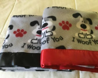Handmade fleece pet blanket with satin trim