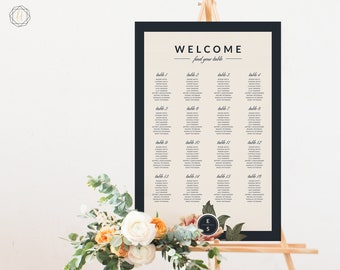 Wedding Seating Chart, Seating Chart Wedding, Wedding Table Plan, Seating Charts, Wedding Sign, Navy Blue Sign, Floral Seating Chart, #VCS