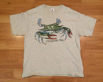 XL 90's Chesapeake Bay Maryland blue crab men's vintage T shirt heather gray 1990's Delta