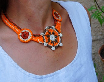 Crochet necklace shapes with star Medallion