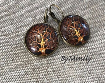 Earrings cabochon glass - Gustav Klimt - tree of life-