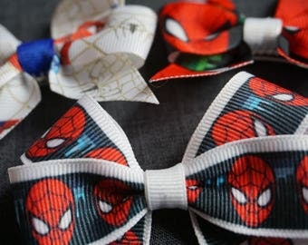 "Spiderman Inspired 3"" Hair Bow/Clip Set - Marvel Comics, Peter Parker"