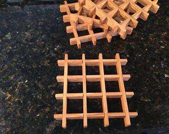 "Hand Made 6"" Square Oak Trivet"