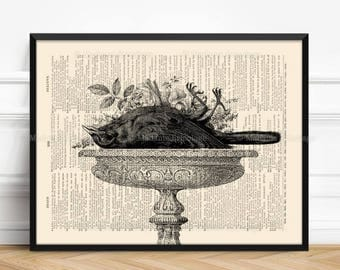 Nevermore, Dead Bird, Dark Print Gift, Horror Decor, Halloween Cool Print, Victorian Death, Wall Hangings, Halloween Print Gift 325