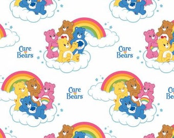 White Care Bears Rainbow Cotton fabric from Camelot Fabrics 44010101-1 America Greetings licensed fabric by yard metre quilting camelot