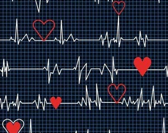 Calling All Nurses Black Heart Beat by Whistler Studios for Windham quilting cotton woven fabric by the yard metre 37302-1 ecg heart rhythm