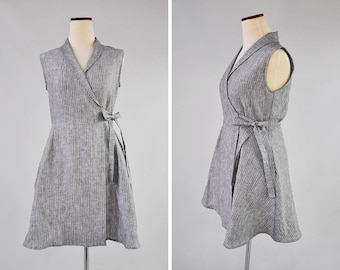 Linen Dresses, Mini Dress, Summer Dress, Wrap Dress, Sleeveless Dress, Gift