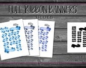 Ribbon Banner, Blue Tones Printable Planner Stickers | Sky, Sapphire, Indigo, Decorative planning | Header Date Cover| hand drawn watercolor