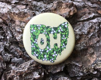 State of Ohio Wildflower Pinback Button